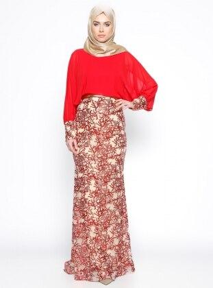 Payetli Abiye Elbise - Kırmızı Mileny