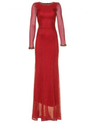 Taş ve Boncuk İşlemeli Abiye Elbise - Kırmızı