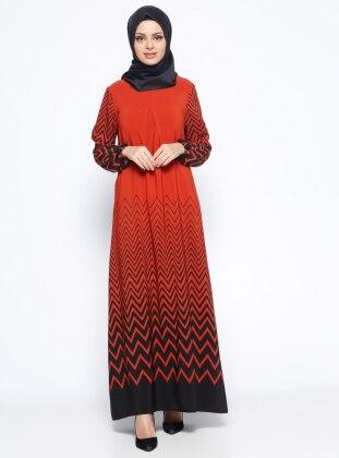 Zikzak Desenli Elbise - Kiremit