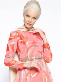 Coral - Gold - Multi - Fully Lined - Crew neck - Muslim Evening Dress