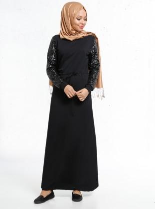 Beli Bağcıklı Payetli Elbise - Siyah