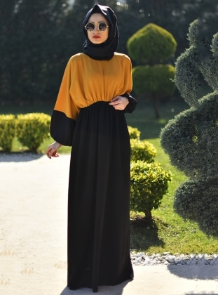 Black - Yellow - V neck Collar - Unlined - Dress