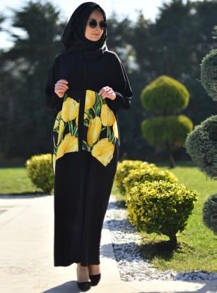 Çiçek Desenli Abaya - Siyah