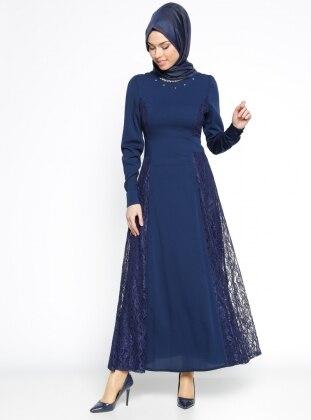 Nihan Dantelli Abiye Elbise - Lacivert
