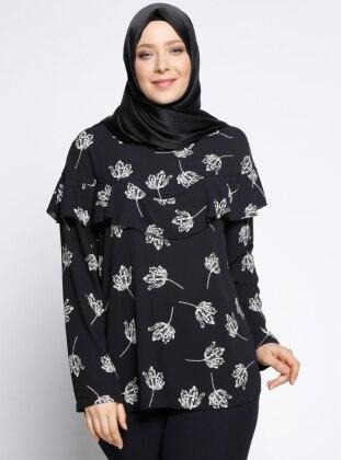 Desenli Bluz - Siyah NZL