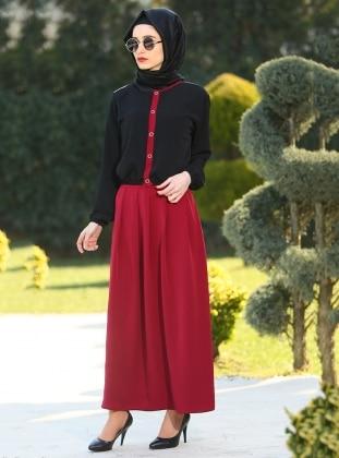 Fatma Aydın Etek&Bluz İkili Takım - Siyah Bordo