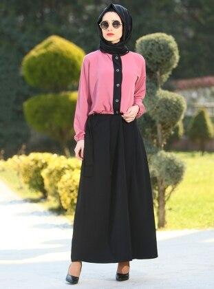 Fatma Aydın Etek&Bluz İkili Takım - Siyah Pudra