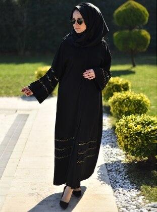 Zikzak Dore Detaylı Abaya - Siyah