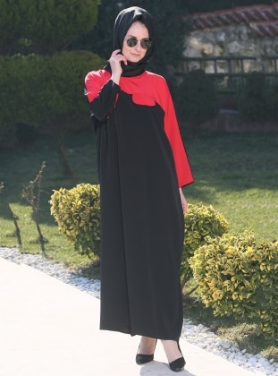 Ferace Elbise - Siyah Kırmızı