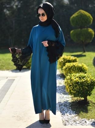 Ferace Elbise - Siyah Petrol