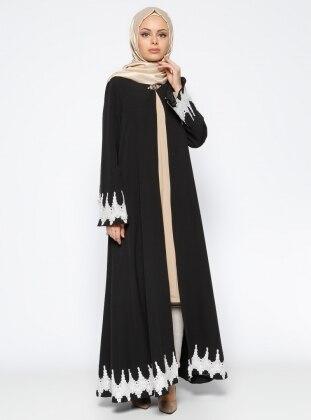 Güpür Detaylı Abaya - Siyah