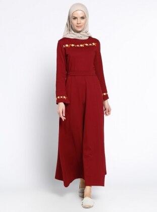 Nakış Detaylı Elbise - Bordo