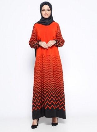 Zikzak Desenli Elbise - Turuncu