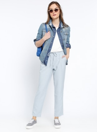 Beli Lastikli Pantolon - Mavi