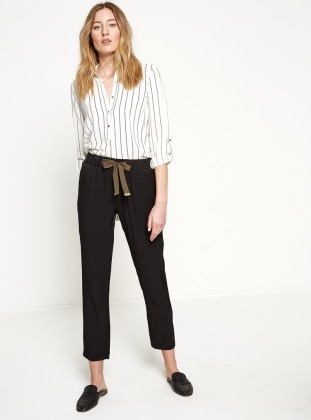 Beli Lastikli Pantolon - Siyah