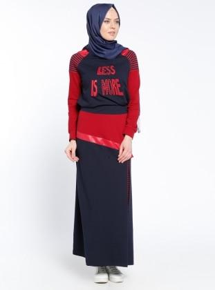 Bluz&Etek İkili Takım - Lacivert Kırmızı
