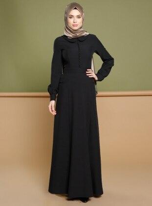 Brit Detaylı Elbise - Siyah