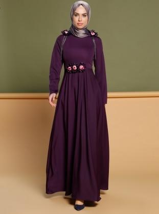 Çiçek Broşlu Elbise - Mor