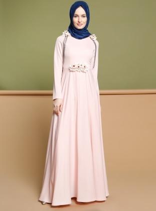 Çiçek Broşlu Elbise - Somon