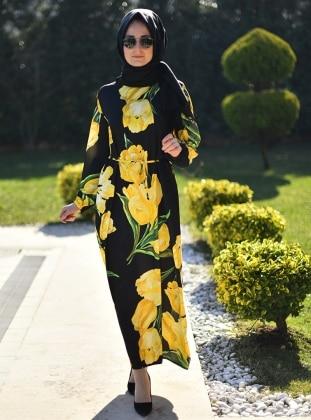Çiçek Desenli Elbise - Sarı Siyah