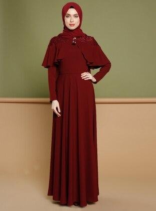 Dantel Detaylı Elbise - Bordo