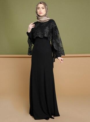 Dantel Pelerinli Abiye Elbise - Siyah