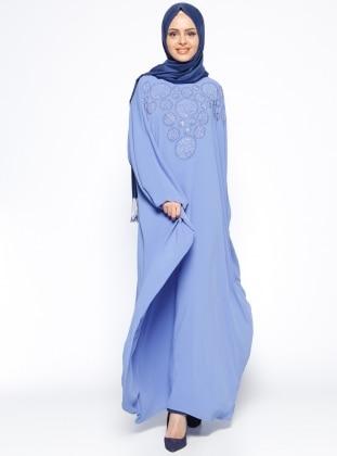 Drop Baskılı Ferace Elbise - Mavi Filizzade