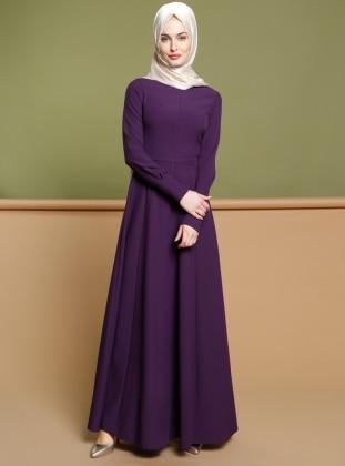 Düz Renk Elbise - Mor