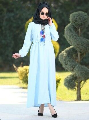 Melek Aydın Düz Renkli Elbise - Mavi
