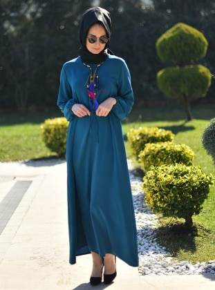 Düz Renkli Elbise - Petrol