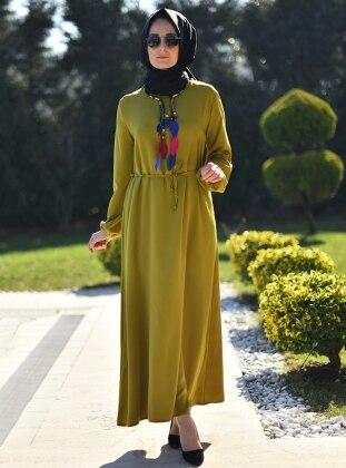 Düz Renkli Elbise - Yağ Yeşili