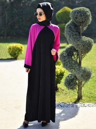 Ferace Elbise - Siyah Fuşya