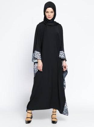 Ferace Elbise - Siyah Gri