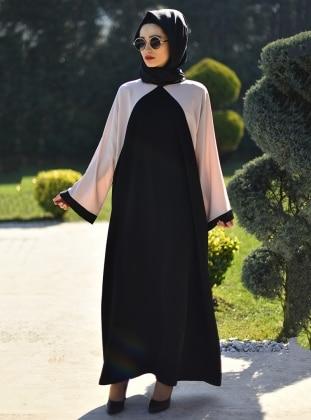 Ferace Elbise - Siyah Krem