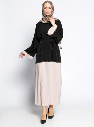 Gabra Ferace Elbise - Siyah Krem