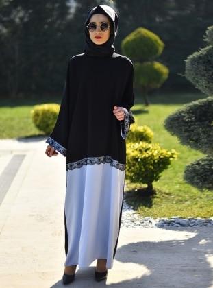 Gabra Ferace Elbise - Siyah Mavi