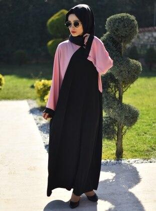 Ferace Elbise - Siyah Pudra Gabra