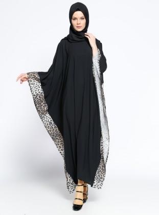 Ferace Elbise - Siyah Taba