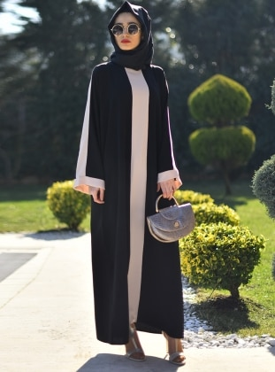 Black - Ecru - Crew neck - Unlined - Abaya - Gabra