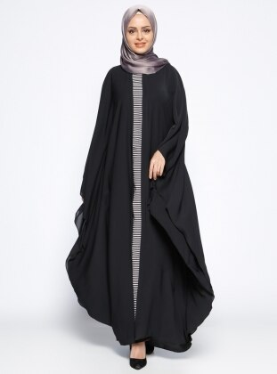 Garnili Ferace Elbise - Siyah