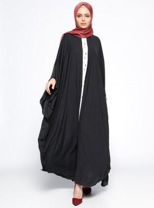 Garnili Ferace Elbise - Siyah Ekru Filizzade