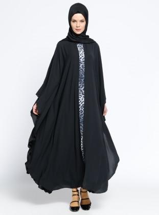 Garnili Ferace Elbise - Siyah Gri