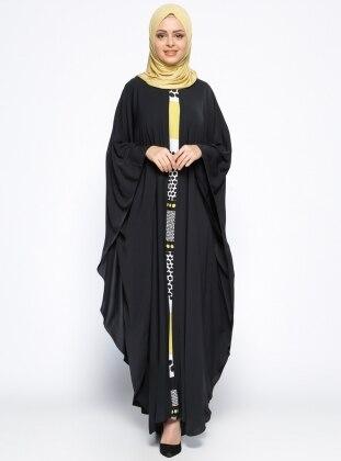 Garnili Ferace Elbise - Siyah Hardal