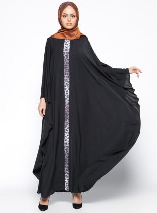 Garnili Ferace Elbise - Siyah Kahverengi