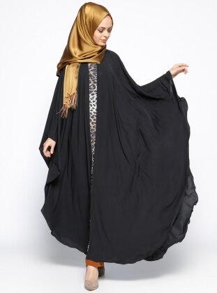 Garnili Ferace Elbise - Siyah Taba