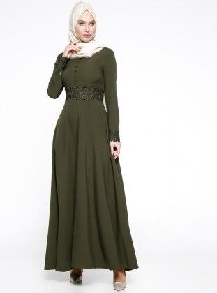 Puane Güpür Detaylı Abiye Elbise - Haki