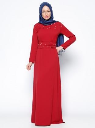 İncili Elbise - Kırmızı