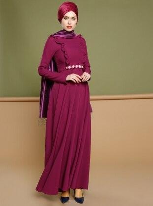 Kemerli Elbise - Mürdüm