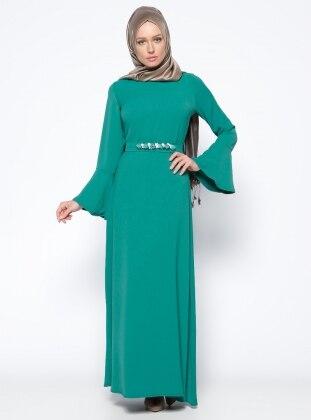 Kemerli Elbise - Yeşil