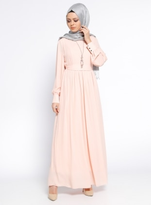Kolyeli Elbise - Pudra